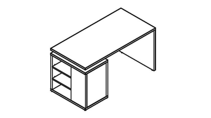 Schreibtisch CORE in weiß Hochglanz Melamin 140x69 cm