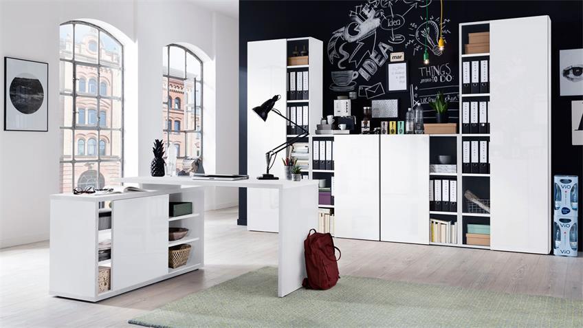 Büro CORE Komplett Set in weiß Hochglanz Melamin 5-teilig