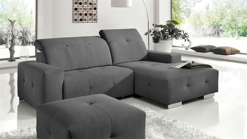 Ecksofa FRANCISCO Sofa grau mit elektrischer Relaxfunktion
