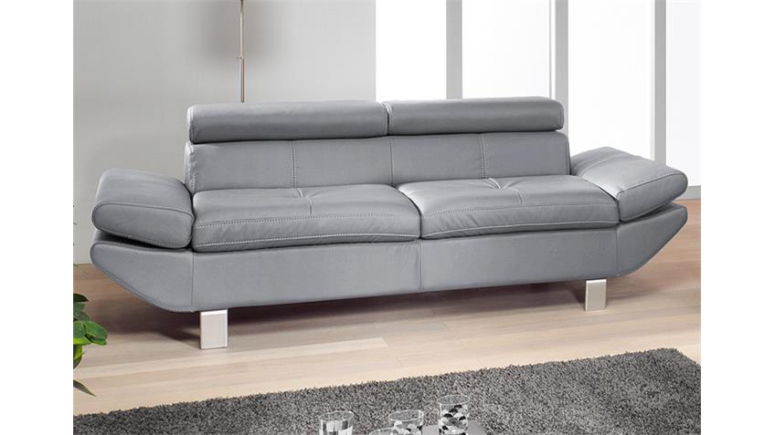 3-er Sofa CARRIER Lederlook grau 223 cm