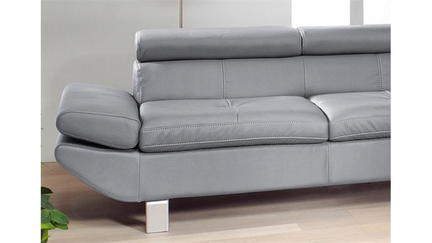 Sofa Garnitur CARRIER Polstermöbel mit Relaxfunktion in grau