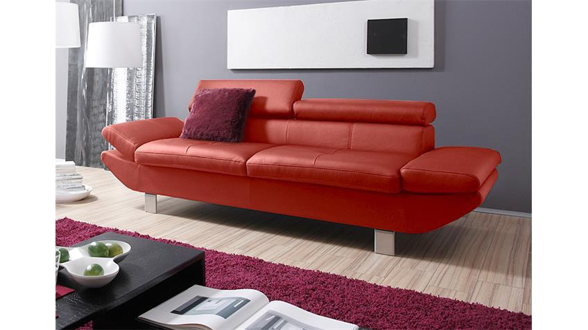3er-Sofa CARRIER Polstermöbel mit Relaxfunktion rot 223 cm