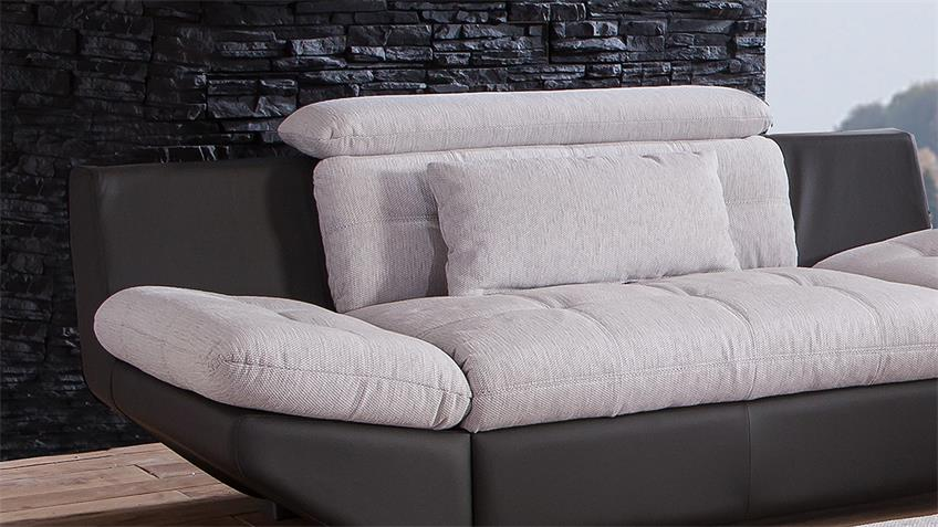 Sofa ETERNITY 2-Sitzer hellgrau schwarz Kopfteilfunktion