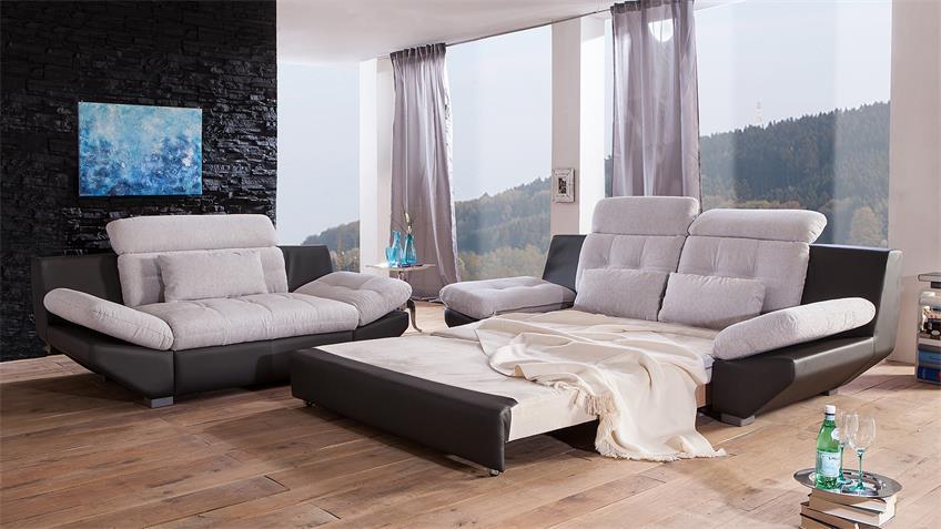 Sofa ETERNITY 3-Sitzer hellgrau schwarz Kopfteilfunktion