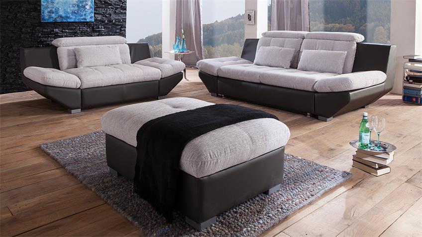 Sofagarnitur ETERNITY Sofa in hellgrau und schwarz