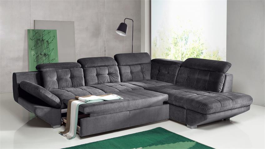 Wohnlandschaft ETERNITY Sofa in Anthrazit mit Bettfunktion