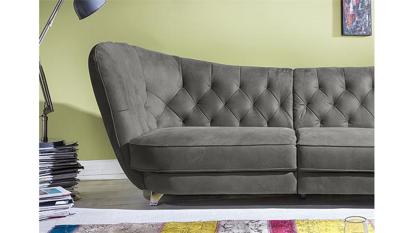 Megasofa RETRO Sofa in grau 3 Sitzer Vintagelook 256 cm