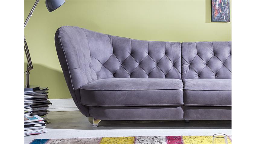 Megasofa RETRO in Stone Vintage Look Sofa 3 Sitzer 256 cm