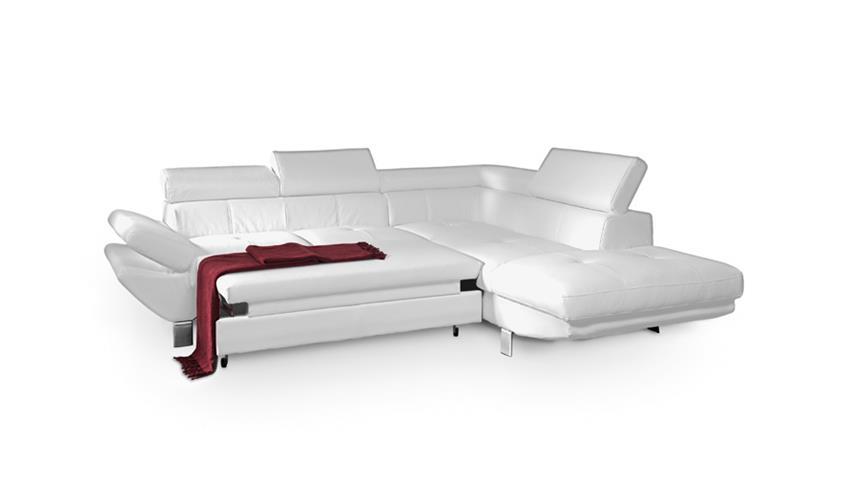 Wohnlandschaft CARRIER Sofa in weiß mit Bettfunktion