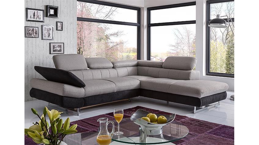 Ecksofa SOLUTION Sofa sand grau schwarz mit Funktion