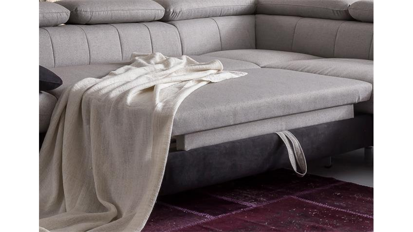 Ecksofa SOLUTION Sofa sand grau schwarz mit Bettfunktion