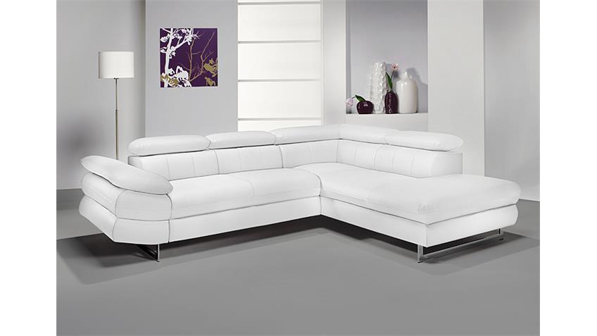 Ecksofa SOLUTION Sofa Wohnlandschaft weiß mit Funktion