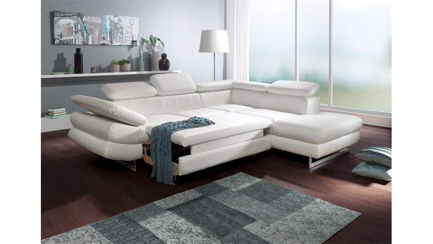Ecksofa SOLUTION Sofa Wohnlandschaft weiß mit Bettfunktion