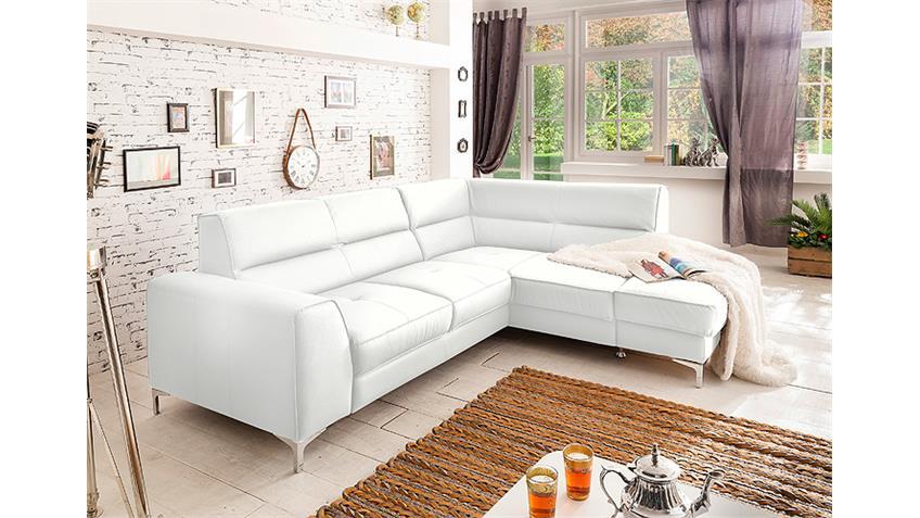 Ecksofa SPECTACLE Sofa weiß mit Bettfunktion und Bettkasten