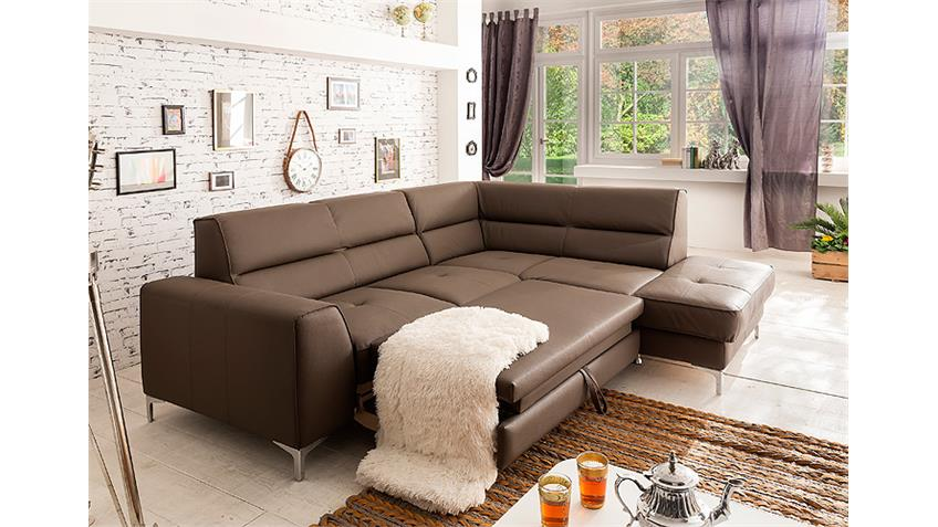 Ecksofa SPECTACLE Sofa mud braun Bettfunktion und Bettkasten