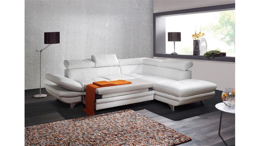 Ecksofa ENTERPRISE Sofa Wohnlandschaft weiß Bettfunktion