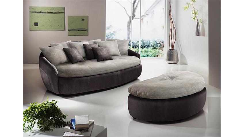 Megasofa ARUBA 2 Sofa in mud braun und elephant grau