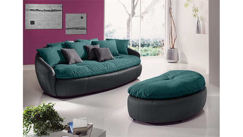 Megasofa ARUBA 2 Sofa Bigsofa in fango petrol und anthrazit