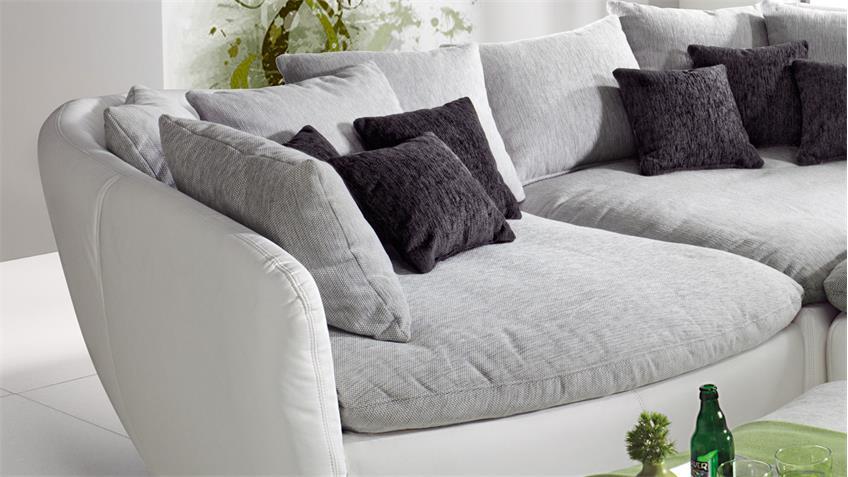 Ecksofa TUNIS Eckkombi weiß und grau inkl. Kissen 290x290 cm