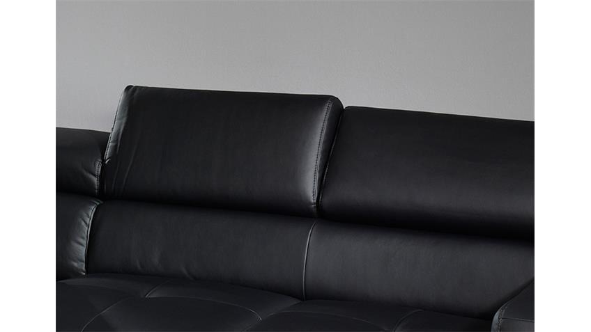Ecksofa SAMMY Sofa Polsterecke schwarz mit Kopfteilfunktion