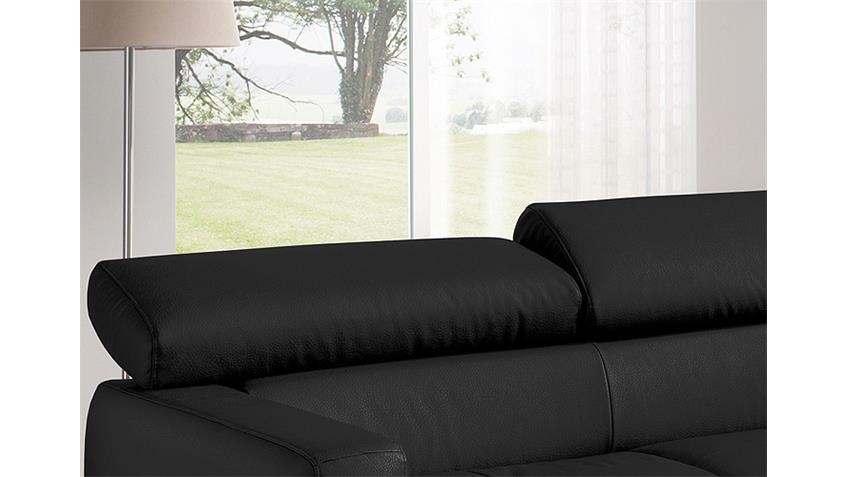 Ecksofa SAMMY Polsterecke Sofa schwarz mit Kopfteilfunktion