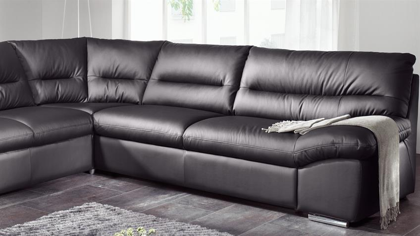 Ecksofa WILLIAM Polsterecke Sofa schwarz mit Bettfunktion