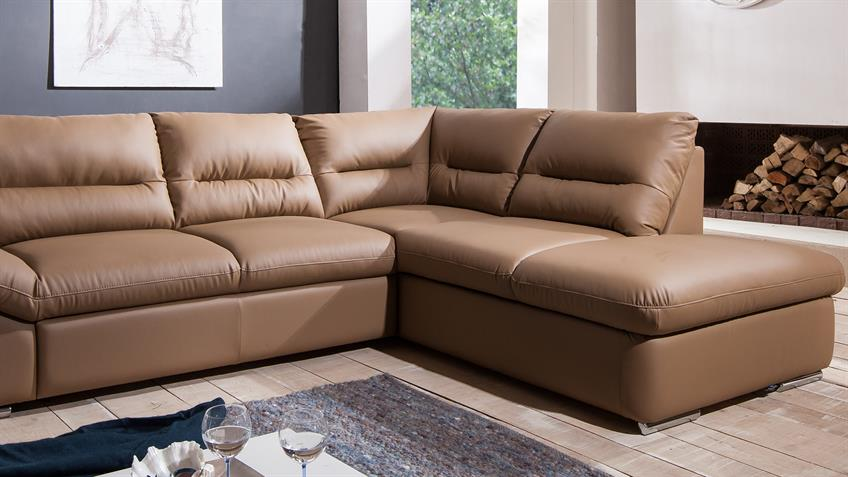 Ecksofa WILLIAM Polsterecke Sofa in Nougat Braun