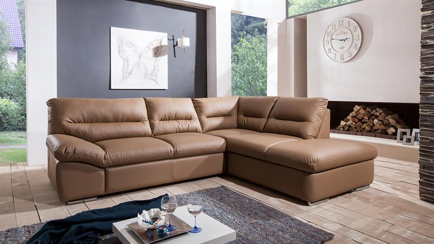 Ecksofa WILLIAM Polsterecke Sofa Bettfunktion Nougat Braun