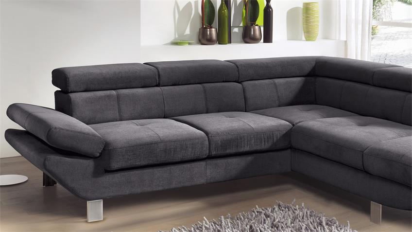 Ecksofa CARRIER Wohnlandschaft Sofa Polsterecke in anthrazit