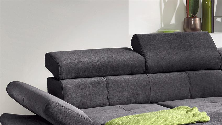 Ecksofa CARRIER Wohnlandschaft Sofa anthrazit Bettfunktion