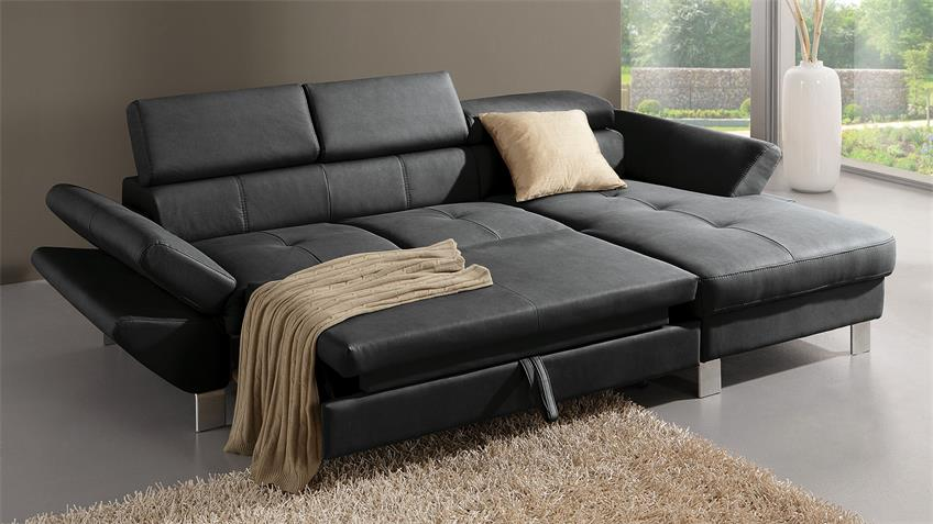 Ecksofa CARRIER Sofa Polsterecke in schwarz Bettfunktion