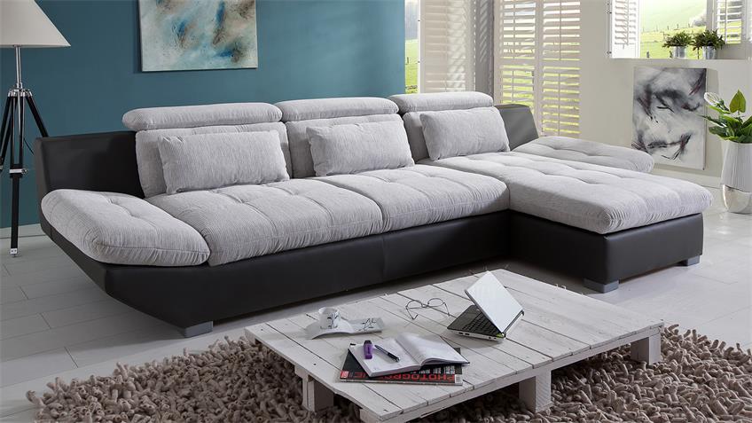 Ecksofa  ETERNITY Sofa Polsterecke hellgrau weiß schwarz