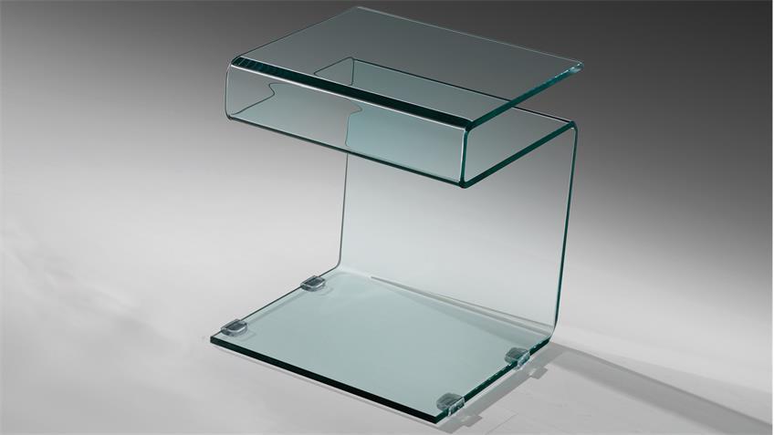 Beistelltisch SUSY mit Ablage formgebogenes Klarglas