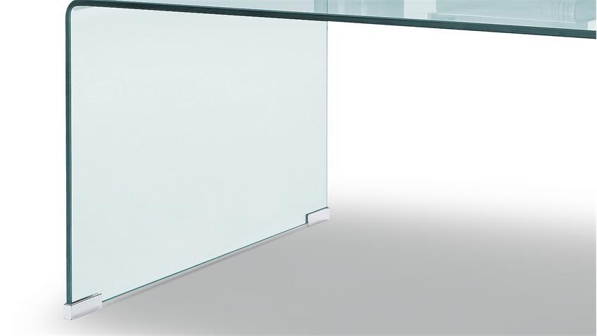 Couchtisch PAY in Klarglas formgebogen 120x60 cm