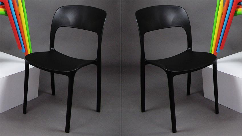 Stapelstuhl FRIDO 4er-Set Esszimmerstuhl in schwarz
