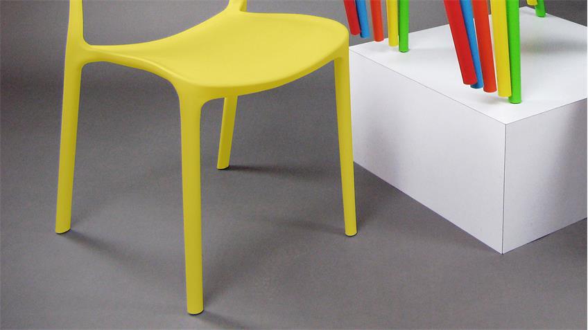 Stapelstuhl FRIDO 4er-Set Esszimmerstuhl in gelb