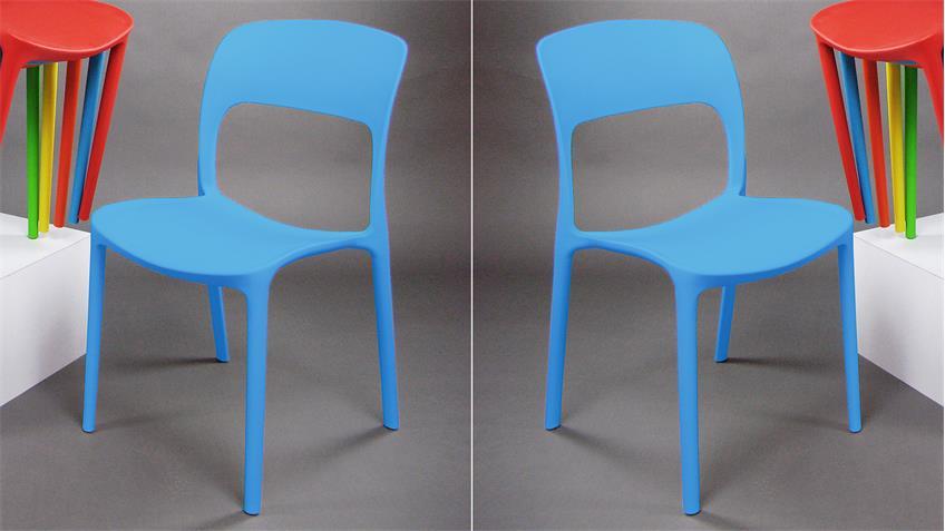 Stapelstuhl FRIDO 4er-Set Esszimmerstuhl in blau