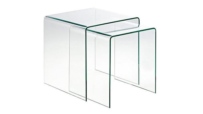 Beistelltisch CECILE 2er Set Tisch aus ESG Glas 8 mm