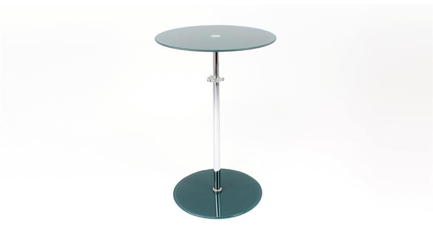 Beistelltisch FLYP ESG Glas petrol höhenverstellbar Tisch