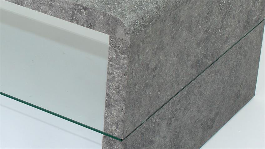 Couchtisch CARMEN in MDF Stone-Optik mit Glasablage