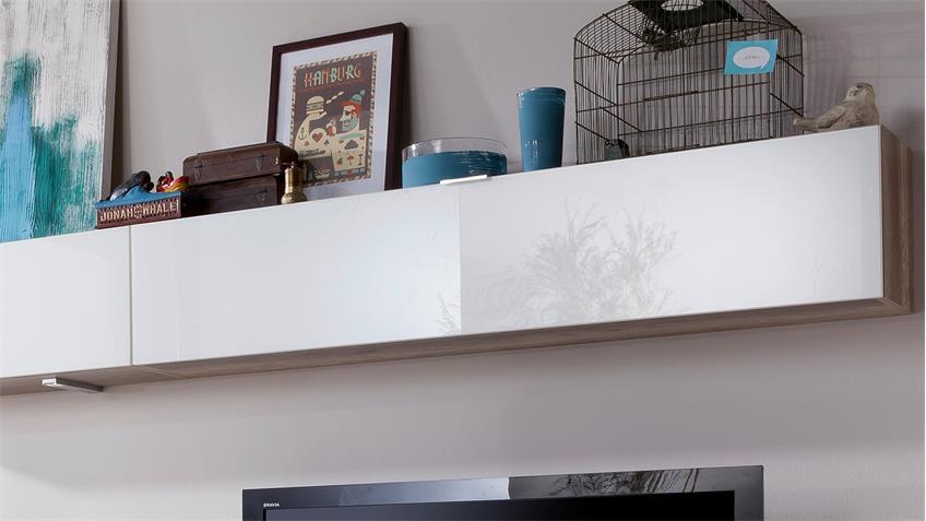 Wohnwand CLEO Anbauwand  Wildeiche Weißglas von CS Schmal