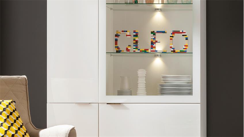 Wohnwand CLEO Anbauwand in weiß Weißglas von CS Schmal