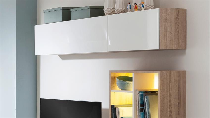 Wohnwand RIO Anbauwand in weiß und Eiche von CS Schmal
