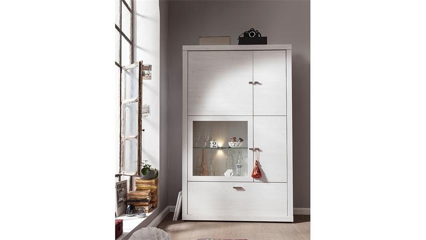 Vitrine TIO & YOU Highboard Sibiu Lärche weiß CS Schmal