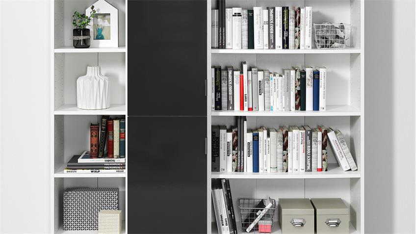 Regal P86 Bücherregal in weiß und anthrazit Glanz CS Schmal