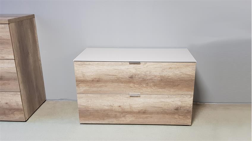 kommode von cs schmal cleo 13 wildeiche mit sandglasplatte. Black Bedroom Furniture Sets. Home Design Ideas