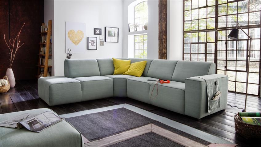 Ecksofa BLANCA Sofa Wohnlandschaft in mint grün