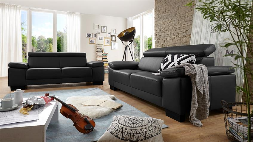 Sofa SANTIAGO Dreisitzer in Leder schwarz mit Funktion 226