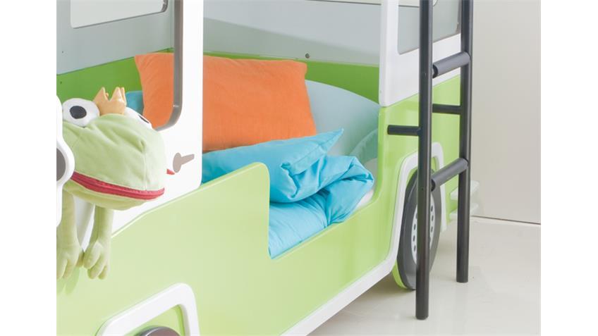 Hochbett AUTOBUS Kinder Etagenbett Bett in grün und weiß