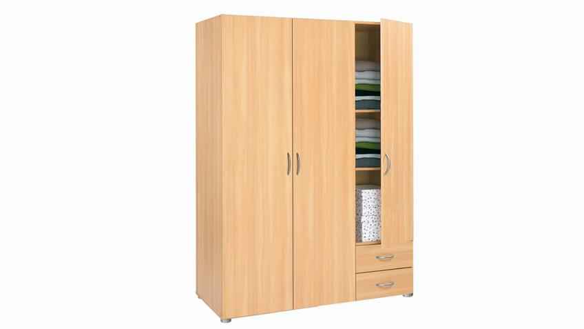 w scheschrank zapo kleiderschrank in buche dekor 121cm breit. Black Bedroom Furniture Sets. Home Design Ideas